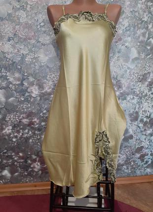 Ночная рубашка jasminе атласная сорочка оливковая комбинация