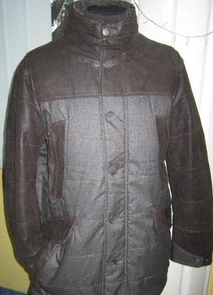 Мужская фирменная куртка - engbers -  кожа + ткань