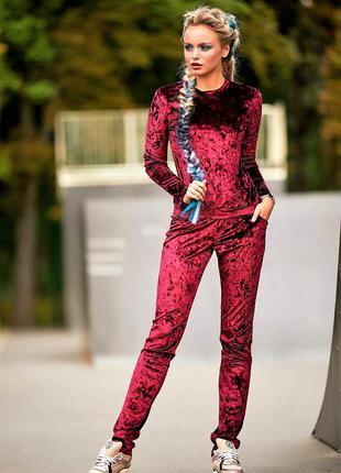 Велюровый бордовый спортивный костюм missi