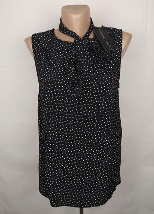 Блуза новая базовая красивая в горохи вискоза new look uk 10/38/s
