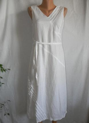 Белое платье лен malvin