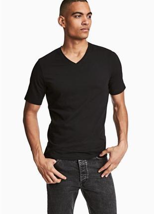 Чёрная трикотажная футболка h&m , slim fit !