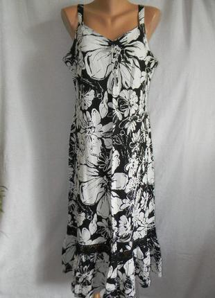 Новое платье сарафан лен с кружевом