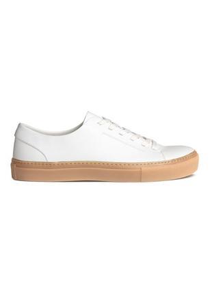 Белые кожаные кроссовки h&m premium quality !
