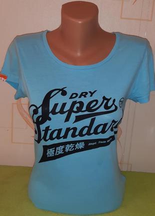 Модная голубая футболка superdry hardware store, made in turkey