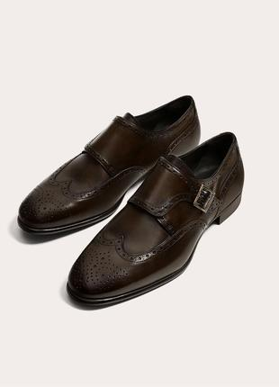 Коричневые кожаные туфли zara man с застежками ! монки