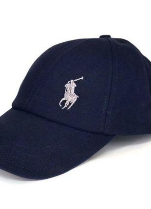 Кепка polo синяя белое лого поло