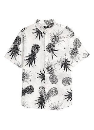 Белая рубашка h&m с ананасами , regular fit !