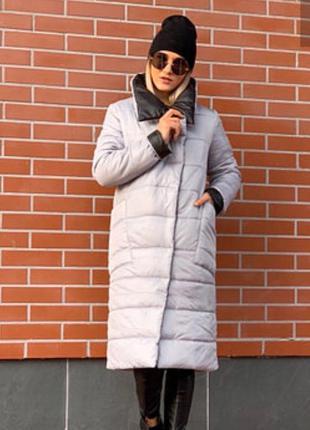 Стеганое женское пальто на синтепоне