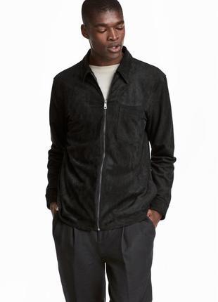Черная замшевая куртка-рубашка h&m x the weeknd !