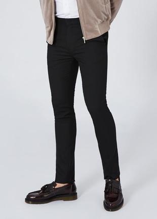 Черные костюмные брюки topman black ultra,  skinny fit !