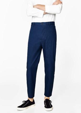Синие брюки zara man , tapered  ! полосатые морковки