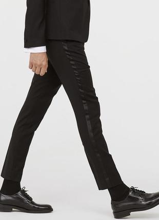 Чёрные брюки под смокинг h&m premium quality, skinny fit !