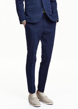 Льняные костюмные брюки h&m, slim fit !