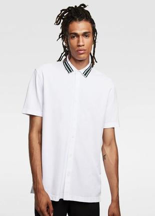 Белая рубашка поло zara man !