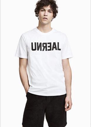 Белая футболка h&m с принтом !