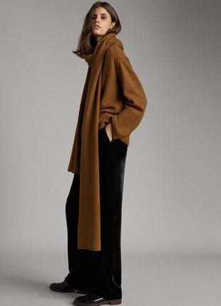 Свободные брюки из натурального бархата с высокой талией