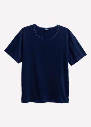 Темно-синяя хлопковая футболка h&m !
