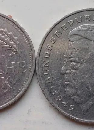 Монеты 1 и 2 дойчмарки