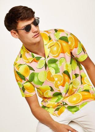 Рубашка topman pink lemon с короткими рукавами !