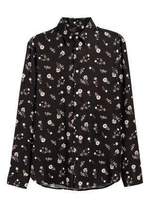 Чёрная рубашка h&m из лиоцелла , regular fit !
