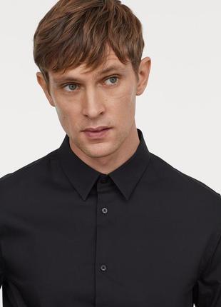 Чёрная рубашка h&m стретч , slim fit !