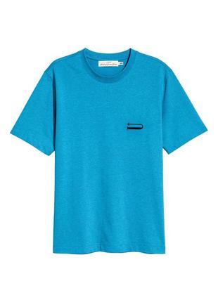 Голубая хлопковая футболка h&m !