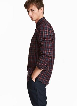 Клечатая рубашка h&m из поплина , regular fit !