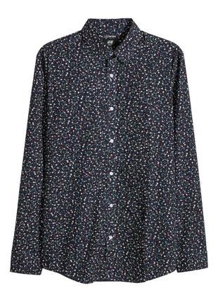 Синяя рубашка h&m , easy iron , slim fit !