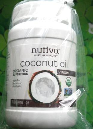 Кокосовое масло холодного отжима, США (444 мл) Nutiva