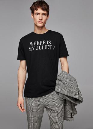 Чёрная футболка zara man pulse с принтом !