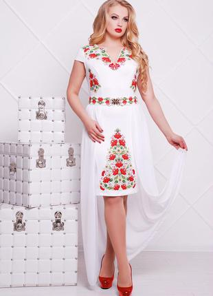 Белое платье с отстегивающейся юбкой