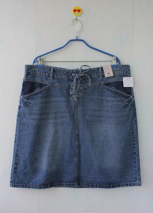 Бомбезная джинсовая юбка с шнуровкой tu