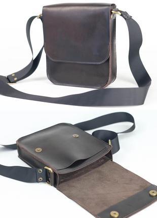 Мужская сумка из натуральной кожи итальянский краст кофейная