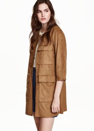 Роскошный замшевый плащ, тренчкот, пальто с замшевой фактурой h&m