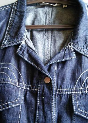 Стильная джинсовая рубашечка с коротким рукавом м/л