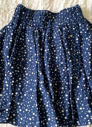 Легкая юбочка в горошек из хлопка и шелка в складку zara s