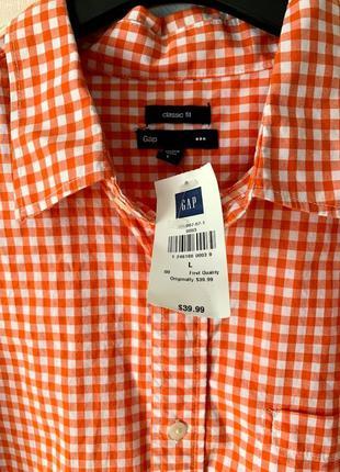 Новая мужская рубашка в клетку gap l