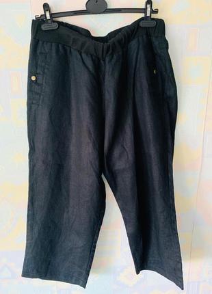 Укороченные широкие брюки лён ulla popken 16