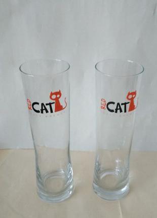 Набор 2 тонких стаканa с тяжелым дном и цветными рисунками.
