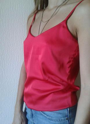 Майка шелковая красная