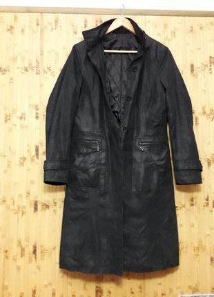 Пальто кожаное теплое на синтепоне плащ с меховым капюшоном