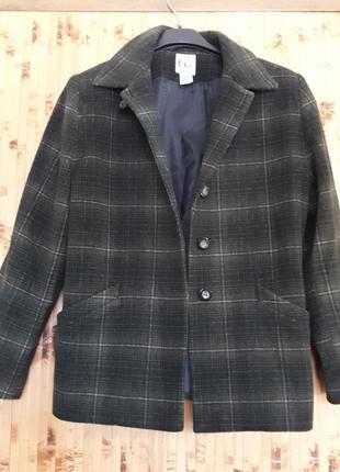 Шерстяной  жакет в клетку изумрудный пиджак куртка р.40-42
