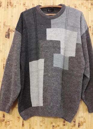 Теплый свитер шерстяной с альпакой джемпер