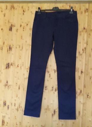Синие джинсы   в полоску полосатые брюки стрейч скини