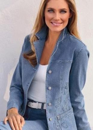 Джинсовый стрейч пиджак жакет куртка большой размер