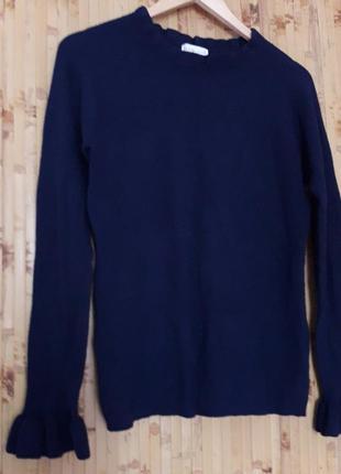 Джемпер свитер синий   с рюшами на рукавах apricot