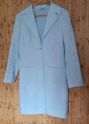 Голубой жаккард костюм длинный жакет + брюки ,  пиджак тренч 1...