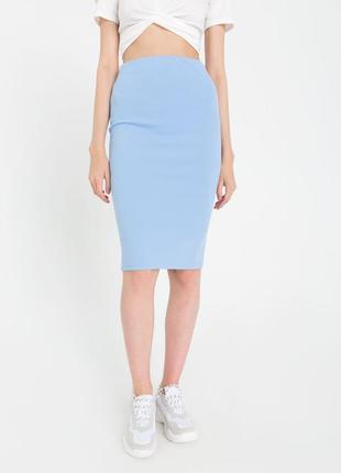 Голубая юбка карандаш замшевая кожаная