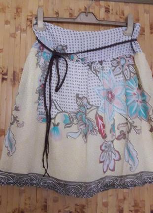 Шелковая юбка складки цветы шелк коттон